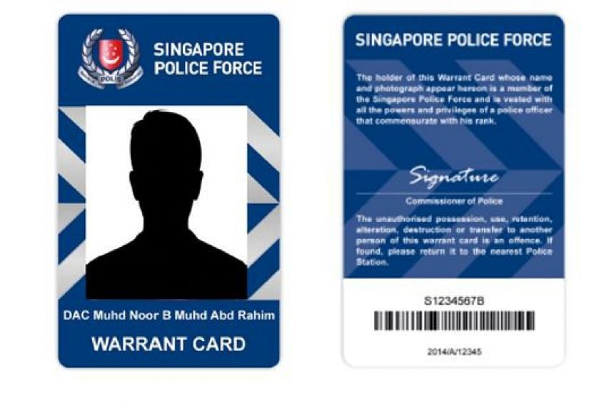 The design of new police warrant cards from March 1, 2016.