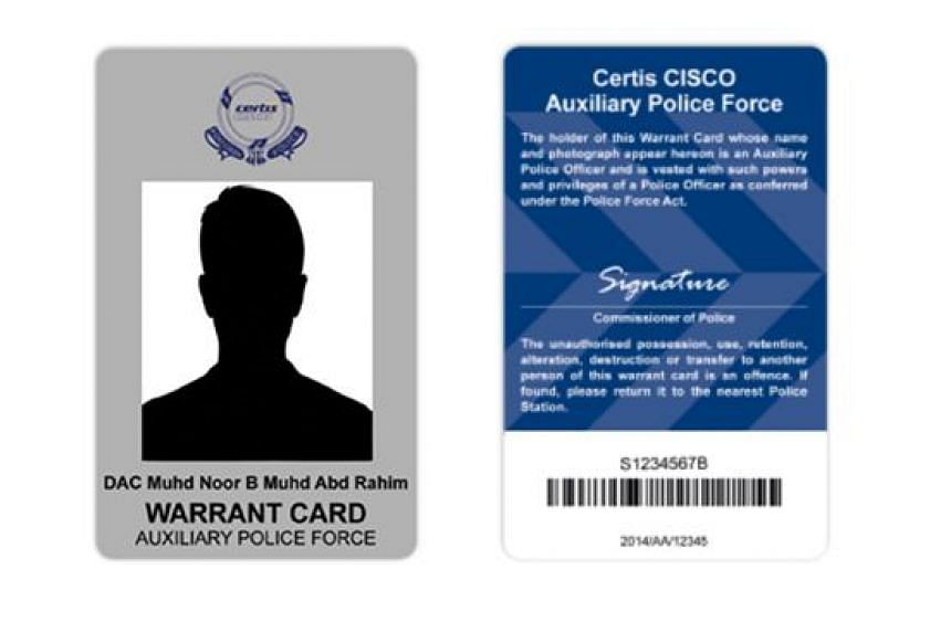 The design of an auxiliary police officer's warrant card. New warrant cards will be issued to all police officers from March 1, 2016.