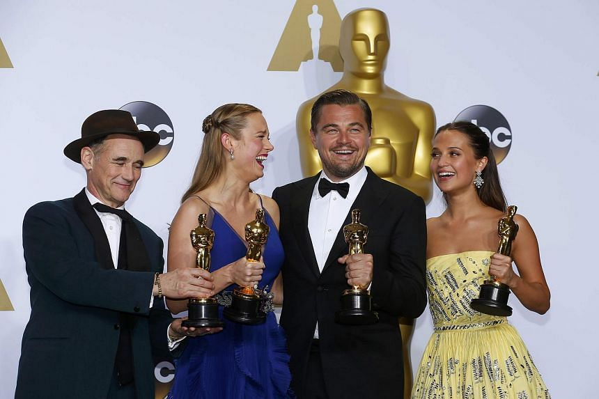 From left: Best Supporting Actor Mark Rylance, Best Actress Brie Larson, Best Actor Leonardo DiCaprio and Best Supporting Actress Alicia Vikander.