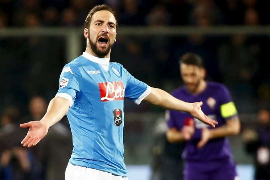 Gonzalo Higuain celebrates after scoring against Fiorentina on March 1, 2016.