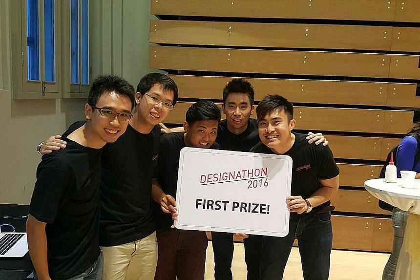 The competition's top prize of $5,000 went to the five-man Team KIBO (left) and its creation, Radio Friend. The always-on Internet-based conference radio works like a voice-based Internet chat room, connecting lonely seniors who live close to one ano