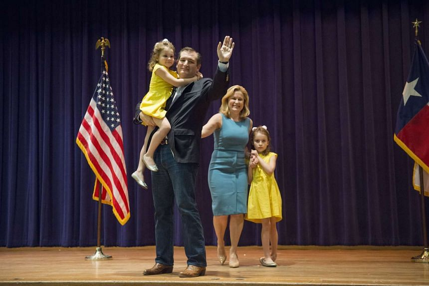 Senator Ted Cruz, a Republican from Texas and presidential candidate, greets attendees with his wife Heidi Cruz and children during a campaign event in San Antonio, Texas on Feb 29, 2016.