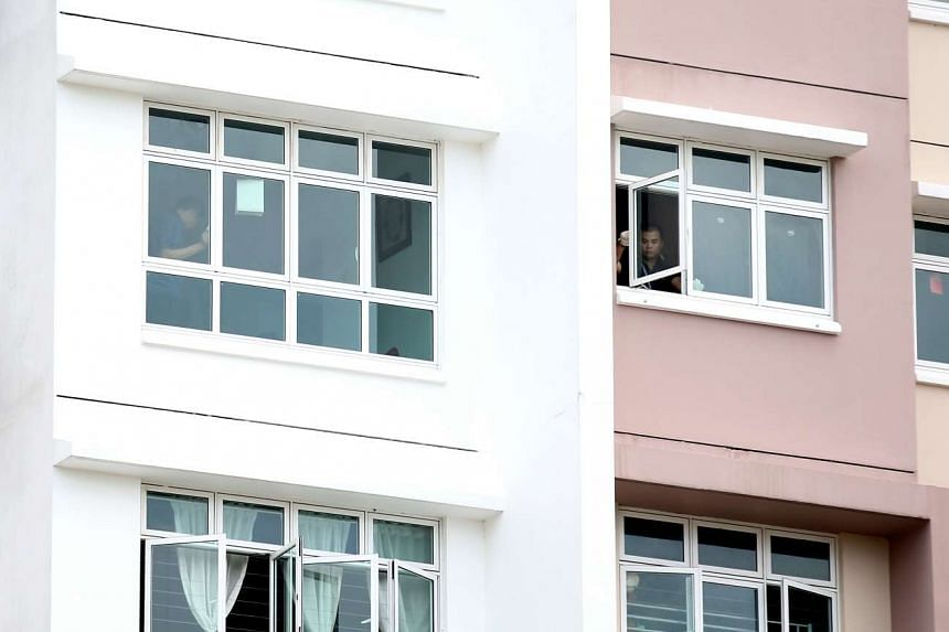 The Yishun flat on the 14th floor, from which Benjamin Lim fell to his death.