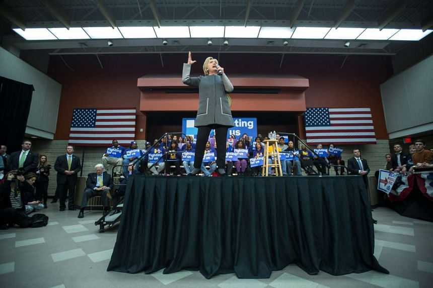 Hillary Clinton holds a campaign rally at George Mason University in Fairfax, Virginia, ahead of Super Tuesday on March 1.
