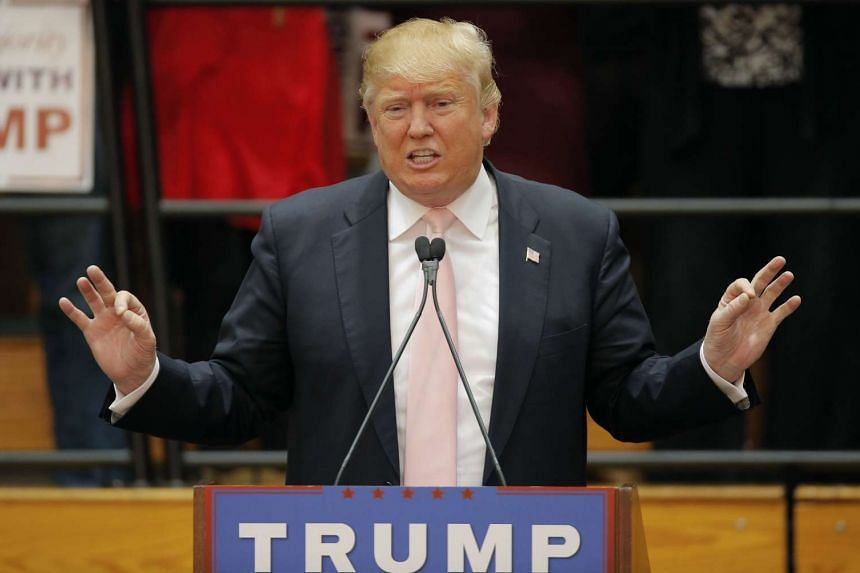 US Republican presidential candidate Donald Trump gesturing as he speaks during a campaign event in Radford, Virginia, on Feb 29, 2016.