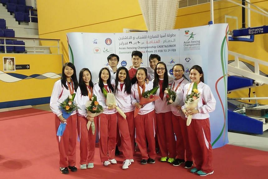 Singapore's junior fencers at the 2016 Asian Juniors and Cadets Fencing Championships.