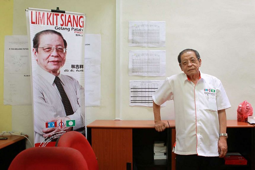 Malaysia's opposition Democratic Action Party leader Lim Kit Siang at the party's branch office.