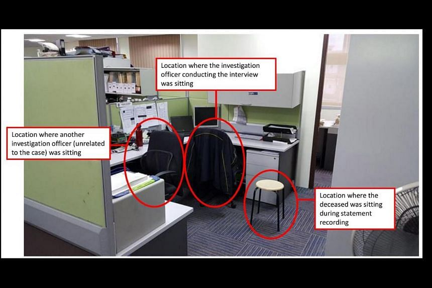 The open office in Ang Mo Kio Police Station where schoolboy Benjamin Lim was interviewed by a police officer.