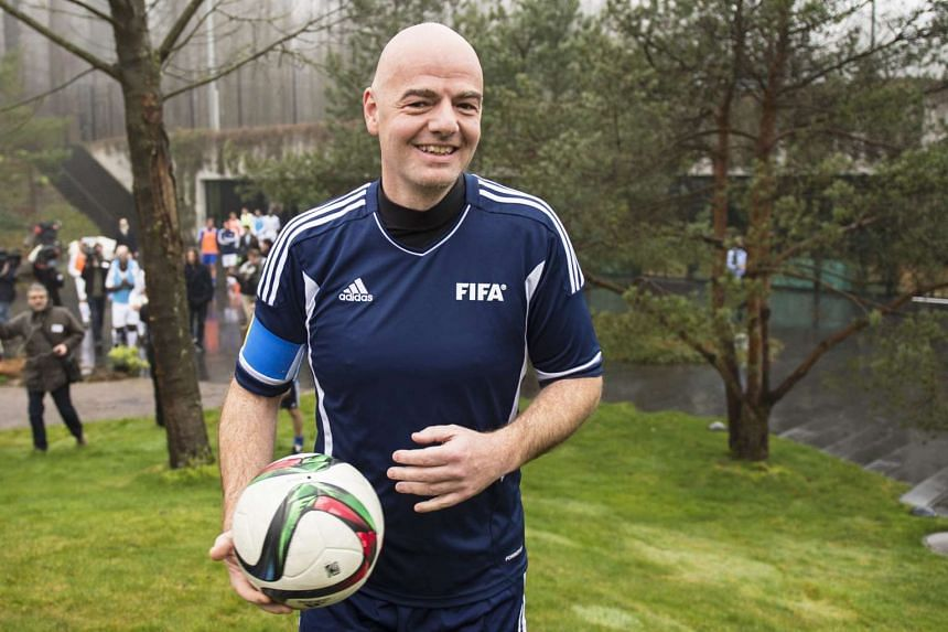 New FIFA President Gianni Infantino of Switzerland attends a friendly soccer match at the Home of FIFA in Zurich on Monday.