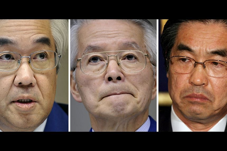 From left to right,  former TEPCO vice presidents Sake Muto, chairman of TEPCO at the time of the disaster, Tsunehisa Katsumata, and former vice preident Ichiro Takekuro, seen in Tokyo.