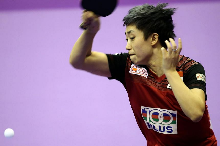 Feng Tianwei led Singapore to a 3-1 preliminary-round win over Poland, on March 1, 2016.