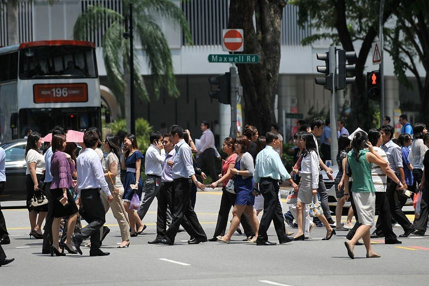 Office workers in the central business district area.