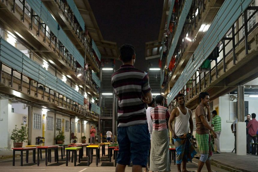 Foreign workers in their dormitory at Terusan Lodge at Jalan Papan in Jurong.