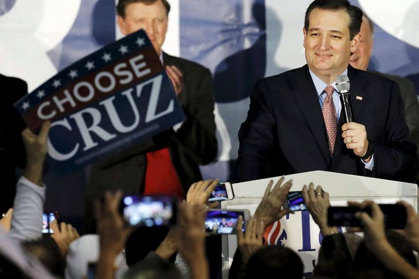 US Republican presidential candidate Ted Cruz speaks after winning at his Iowa caucus night rally in Des Moines, Iowa, United States, on Feb 1, 2016.