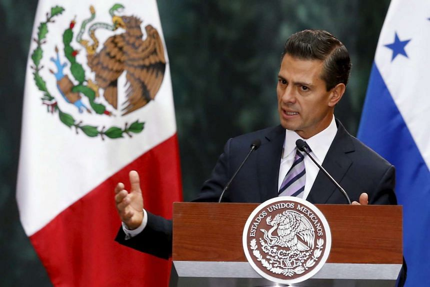 Mexico's President Enrique Pena Nieto speaks during a welcome ceremony at the National Palace in Mexico City, on Feb 26, 2016.