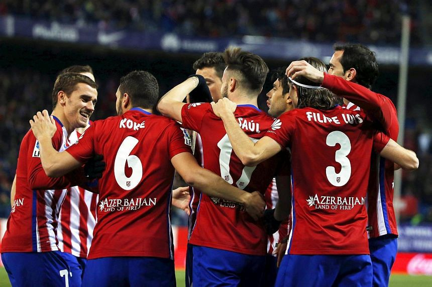 Atletico Madrid celebrates after a 2-0 lead during a match against Real Sociedad on March 1, 2016.