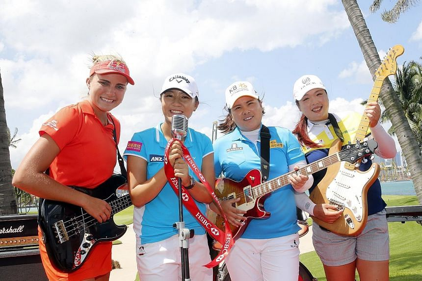 British pop band Take That are scheduled to perform on Saturday night after the HSBC Women's Champions' third round but yesterday, the fab four of (from left) Lexi Thompson, Lydia Ko, Park In Bee and Feng Shanshan were the ones hamming it up. There h