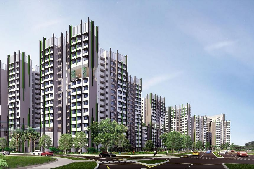 An artist's impression of Alkaff Oasis in Bidadari estate. The project saw more than 3,000 applicants going after 236 five-room and multi-generation flats as of 5pm yesterday - the last day of the launch.