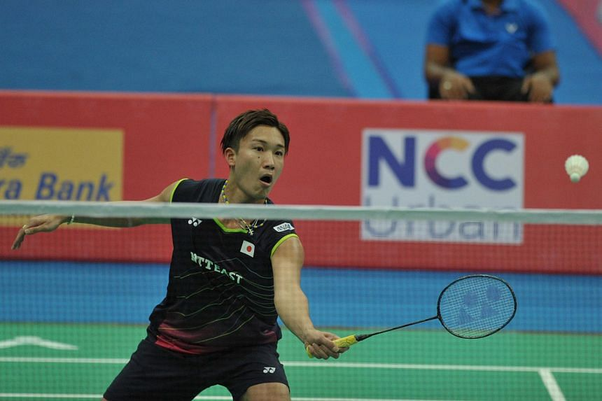 Kento Momota of Japan playing against Son Wan Ho of Korea (not pictured) during their men's singles semi-final match at the Badminton Asia Team Championships on Feb 20, 2016.
