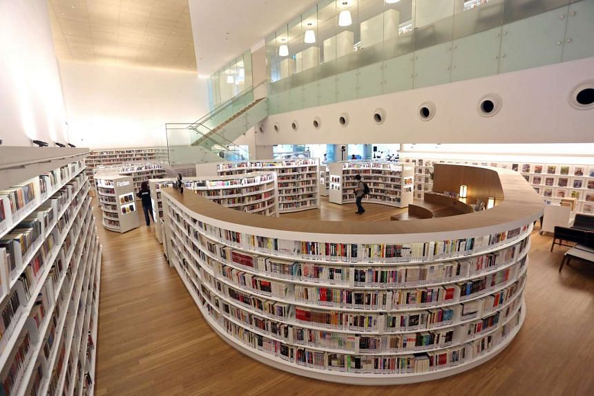 The interior of the two-storey Library@Orchard.