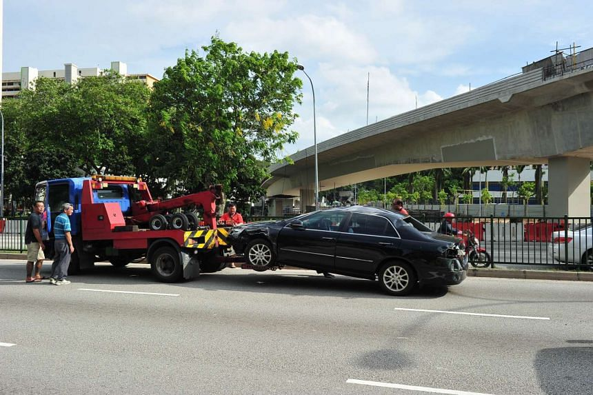 A car being towed away from the scene on March 2, 2016.