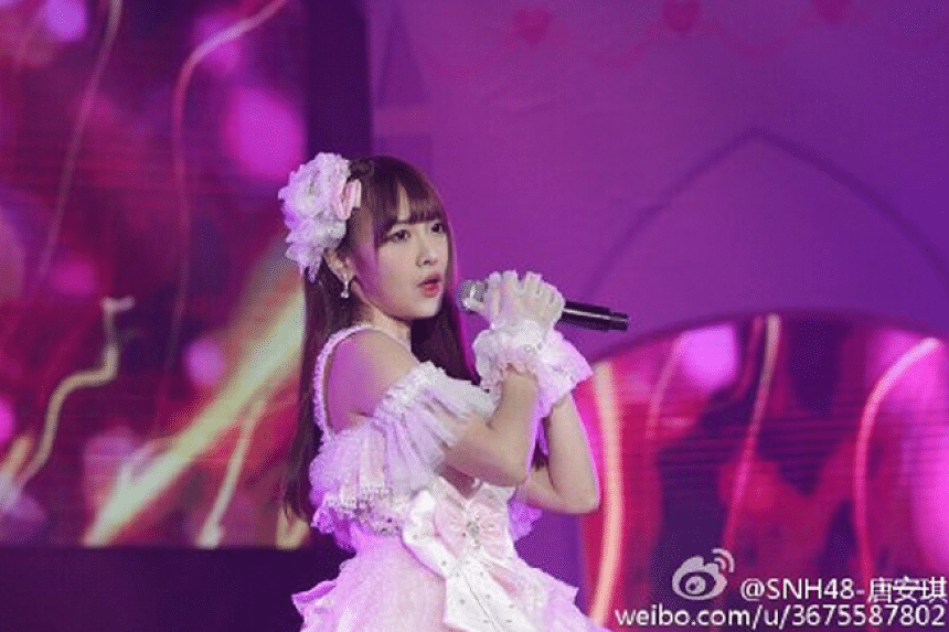 Tang Anqi, a 23-year-old member of Chinese girl group SNH48.