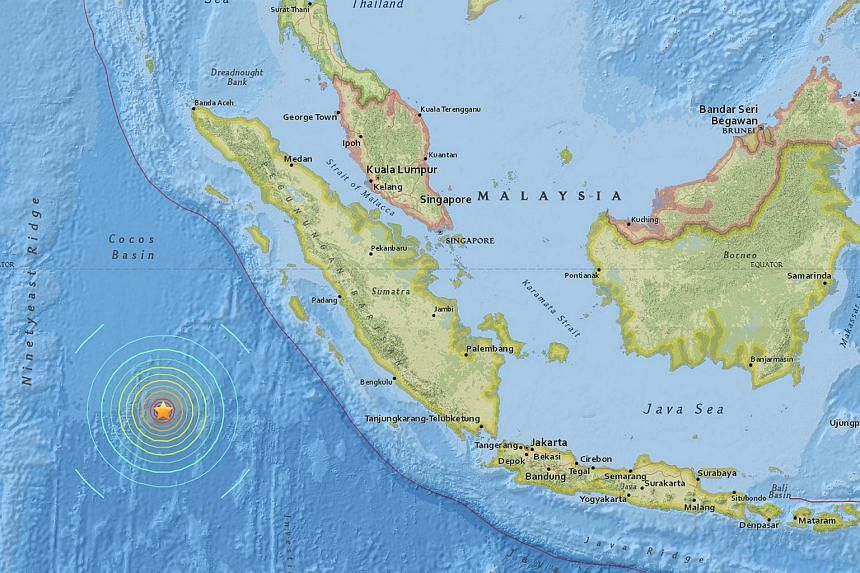 An interactive map provided on the website of the US Geological Survey (USGS) shows the location of an earthquake southwest of Sumatra, Indonesia on March 2, 2016.