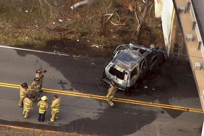 The wrecked car which former co-founder of Chesapeake Energy Corp Aubrey McClendon was driving.