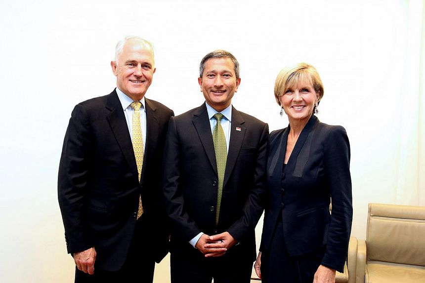 Minister for Foreign Affairs Dr Vivian Balakrishnan meets with Australian Prime Minister Malcolm Turnbull (left) and Australian Minister for Foreign Affairs Julie Bishop on March 3, 2016.