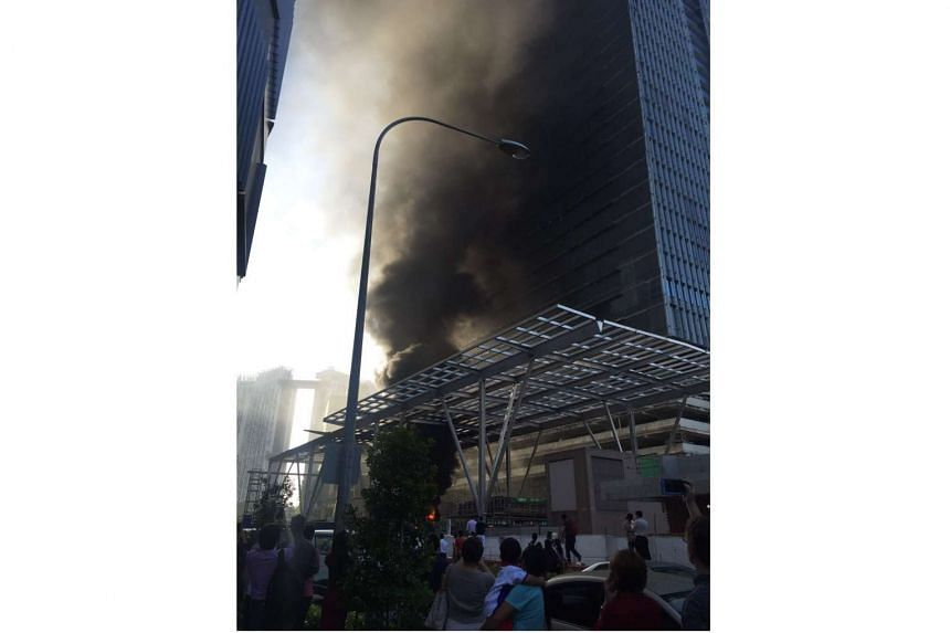 A fire broke out in a construction site near International Plaza on Anson Road on March 3, 2016.