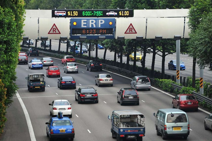 Cars passing under the electronic road pricing (ERP) gantry along the Central Expressway (CTE) towards Ang Mo Kio.
