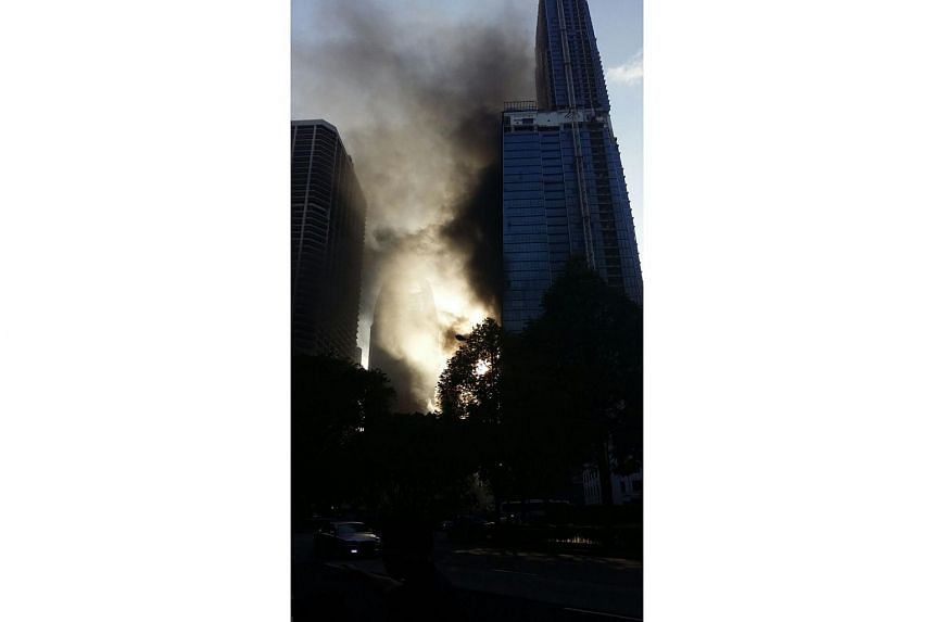 A fire broke out at a construction site near International Plaza on Anson Road on March 3, 2016.