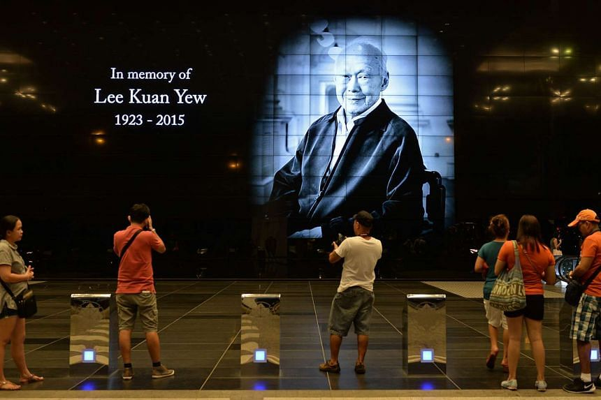 A tribute to former Prime Minister Lee Kuan Yew at Suntec City on March 24, 2015.