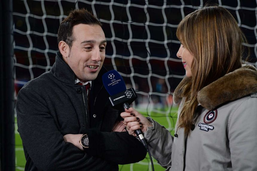Arsenal's Santi Cazorla talks to the media before the Uefa Champions League match between Arsenal and FC Barcelona.