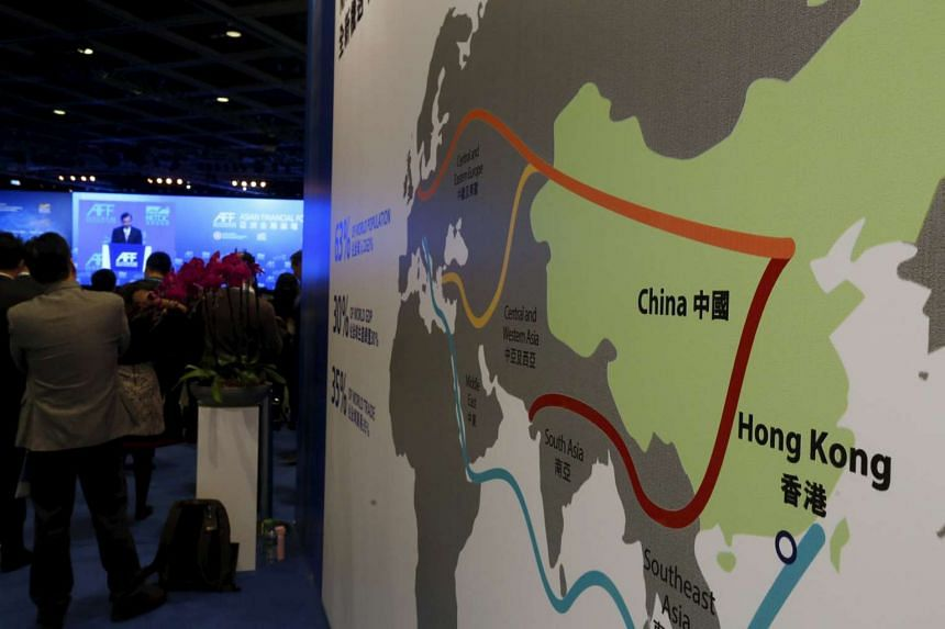 An illustration of the One Belt, One Road megaproject at the Asian Financial Forum in Hong Kong, on Jan 18, 2016.