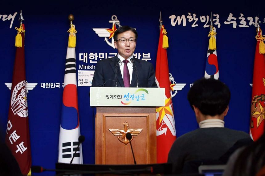 South Korean Defence Ministry spokesman Moon Sang-Gyun at a press briefing on North Korea's rocket launch on Feb 7, 2016.