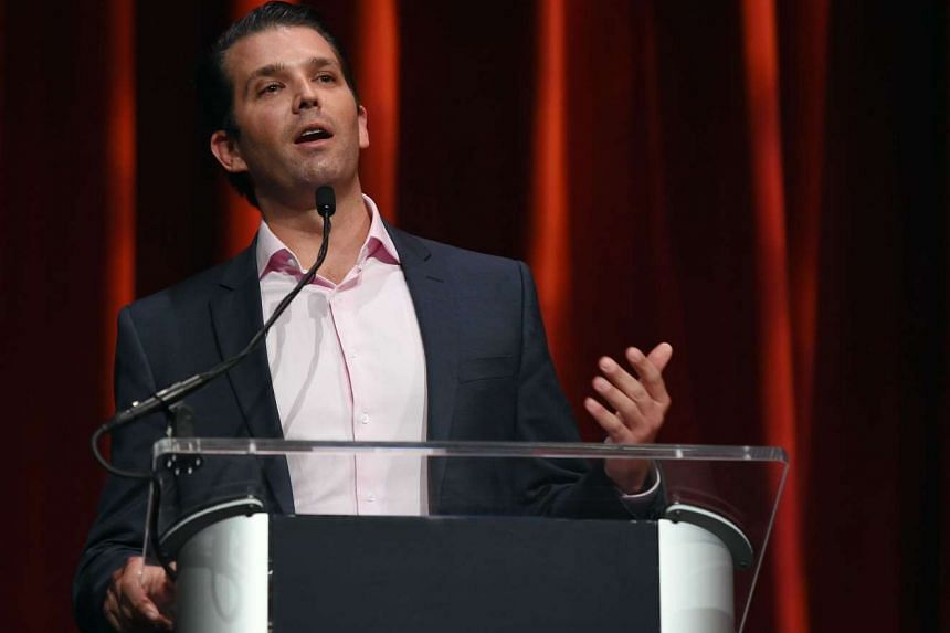 Donald Trump Jr speaks before an appearance by his father during the Outdoor Channel and Sportsman Channel's 16th annual Outdoor Sportsman Awards.