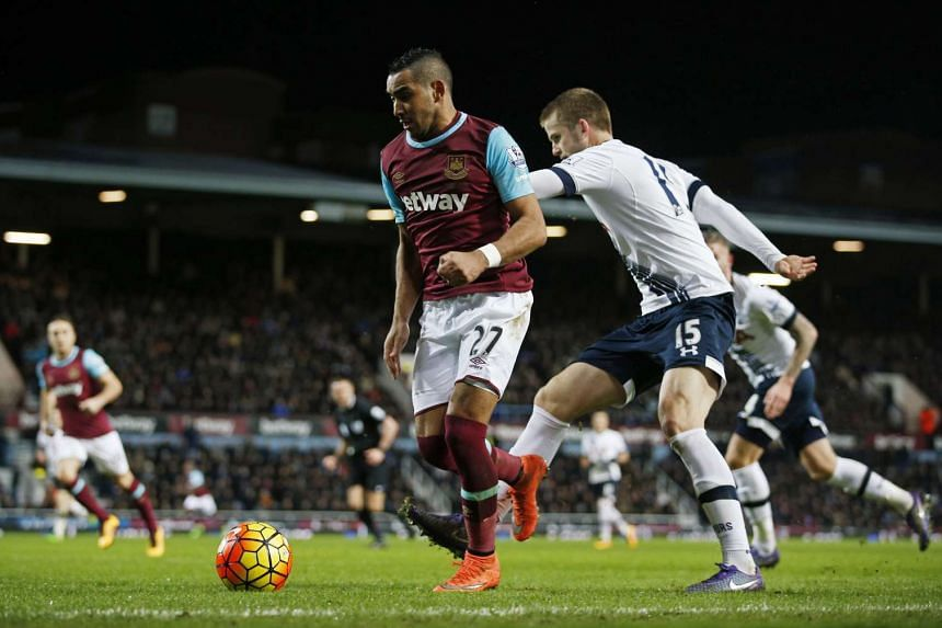 West Ham's Dimitri Payet in action with Tottenham's Eric Dier.
