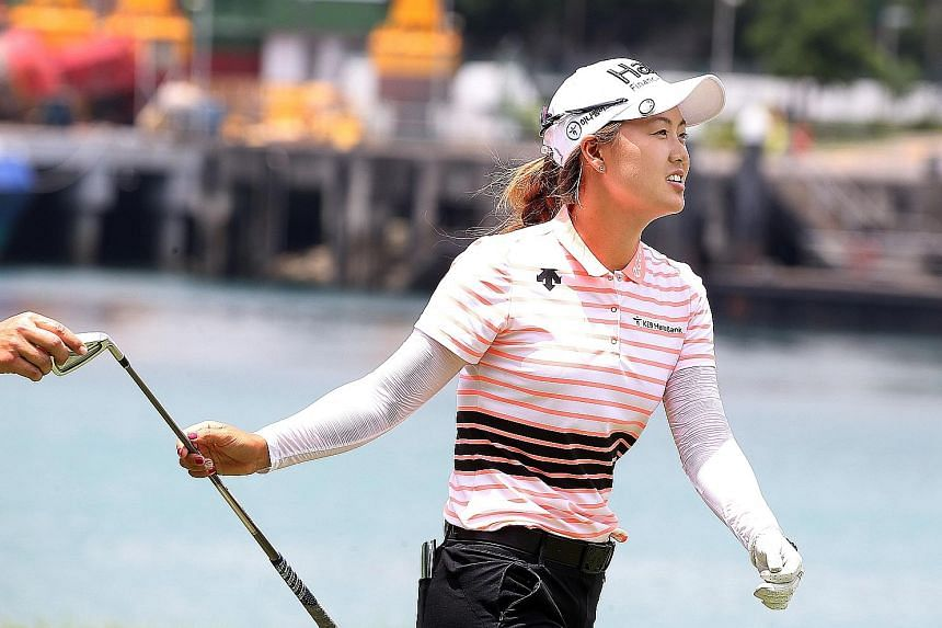 Already one of the brightest prospects in women's golf after winning her first LPGA title last year, Minjee Lee (above) was deadly accurate with her clubs yesterday, firing a five-under 67 at the Sentosa Golf Club's Serapong Course to share the first