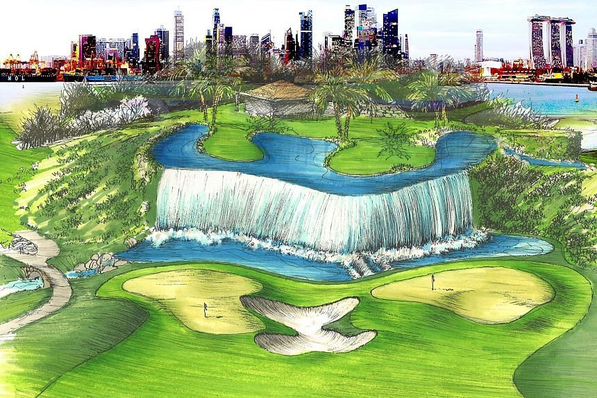 An artist's early impression of the New Tanjong Course's sixth tee which includes a 20m-high waterfall.