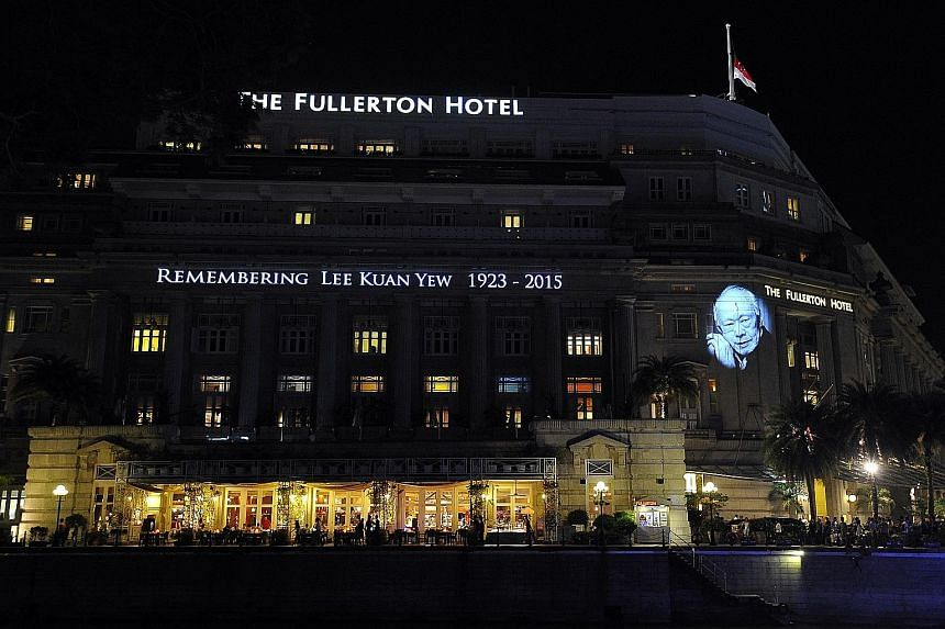 A tribute to the late founding Prime Minister Lee Kuan Yew at The Fullerton Hotel on March 27 last year. Among the activities planned to commemorate his legacy this month are a tree-planting exercise at Jurong Lake Park, in recognition of Mr Lee's ca