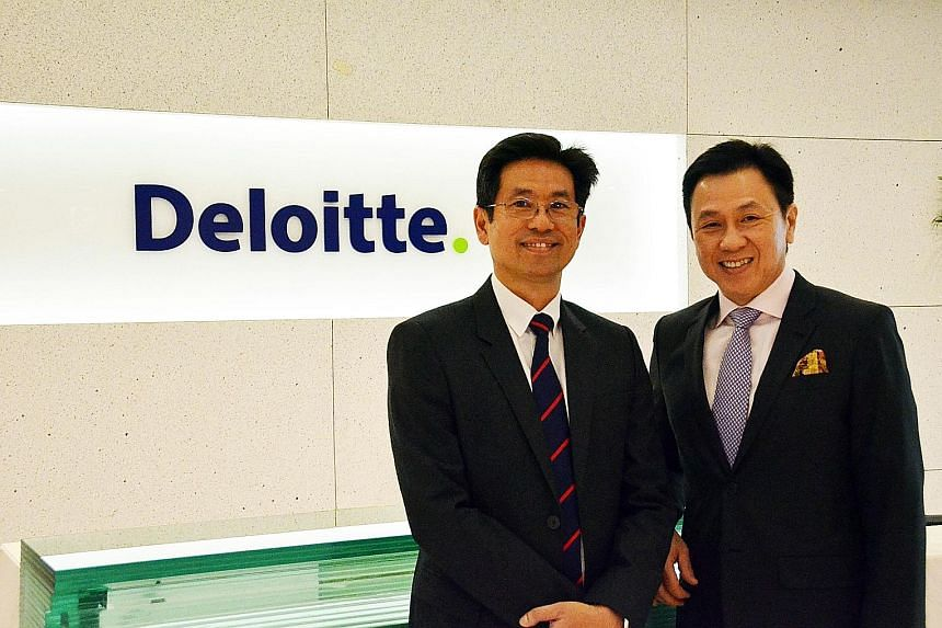 From left: Mr Yuen, now Deloitte Singapore chief executive, will succeed Mr Mah on June 1. The latter is retiring on May 31 after more than 38 years of service with the Big Four accounting firm.