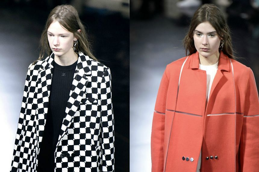 Models presenting Courreges self-heating overcoats in Paris on March 2.