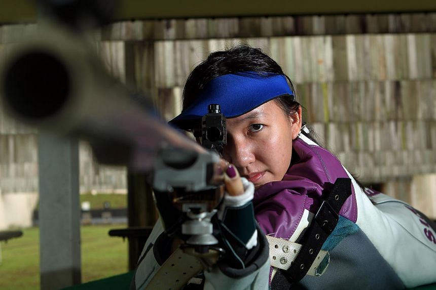 National shooter Jasmine Ser at a training session.