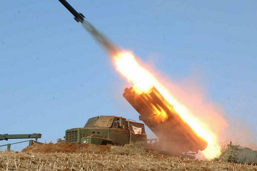 A North Korean military's missile firing drill in North Korea.