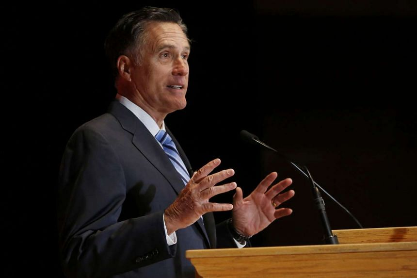 Romney speaking critically about Trump at the University of Utah on March 3, 2015.