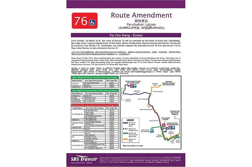 A poster announcing the amended route of the bus service 76.
