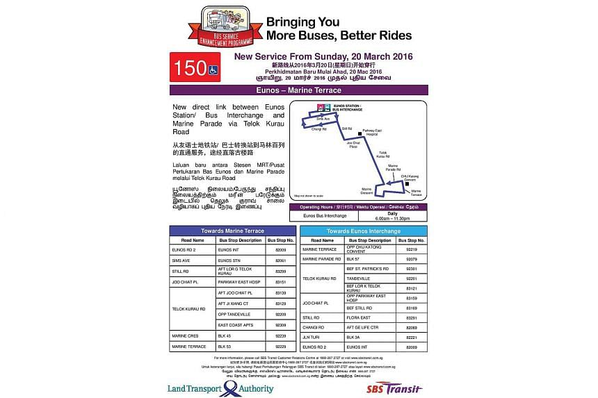 A poster announcing the route of the new bus service 150.