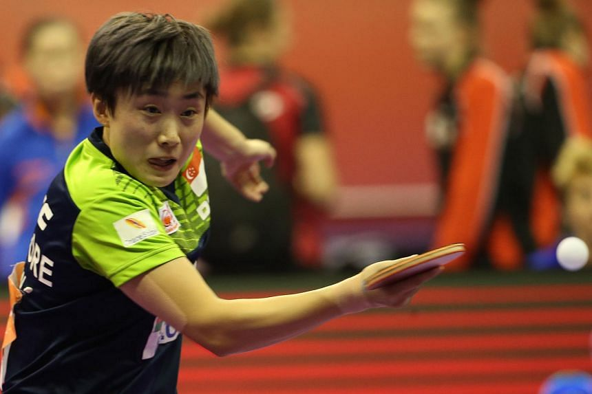 National paddler Feng Tianwei in action during a match against Holland in the World Team Table Tennis Championships in Malaysia, on March 2, 2016.