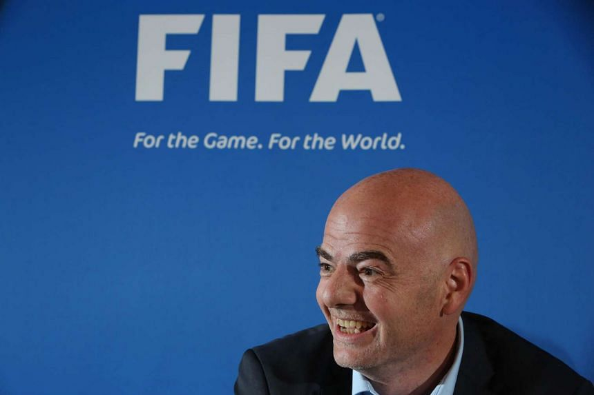Fifa president Gianni Infantino speaks during a press conference at the St David`s Hotel in Cardiff, Wales, on March 4 2016.
